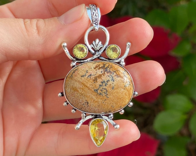 Natural Picture Jasper with Faceted Citrine Quartz Gemstone 925 Sterling Silver Handcrafted Pendant Size 2 1/2""