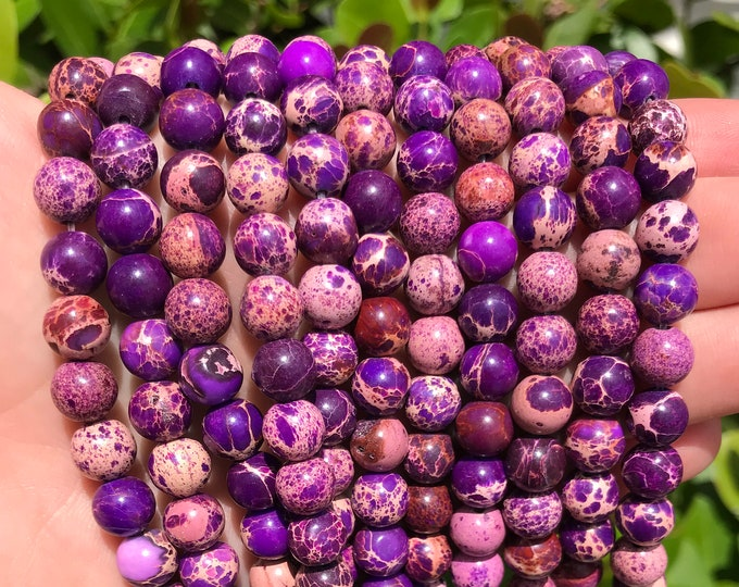 Purple Sea Sediment Jasper | Round Natural Gemstone Loose Polished Beads | Sold by Strand | Size 8mm