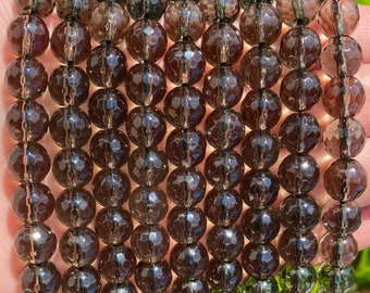 Smoky Quartz Beads | Grade A | Faceted Round Natural Gemstone Beads | Sold by 15 Inch Strand | Size 4mm 6mm 8mm 10mm 12mm