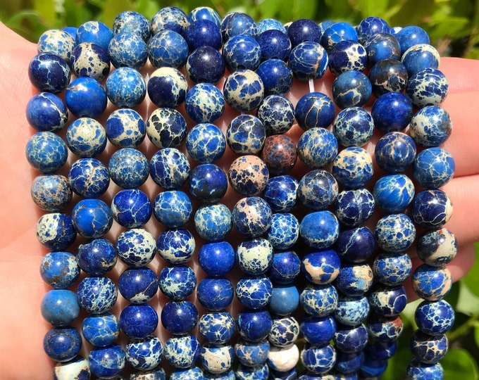 Deep Blue Sea Sediment Jasper | Round Natural Gemstone Loose Polished Beads | Sold by Strand | Size 8mm