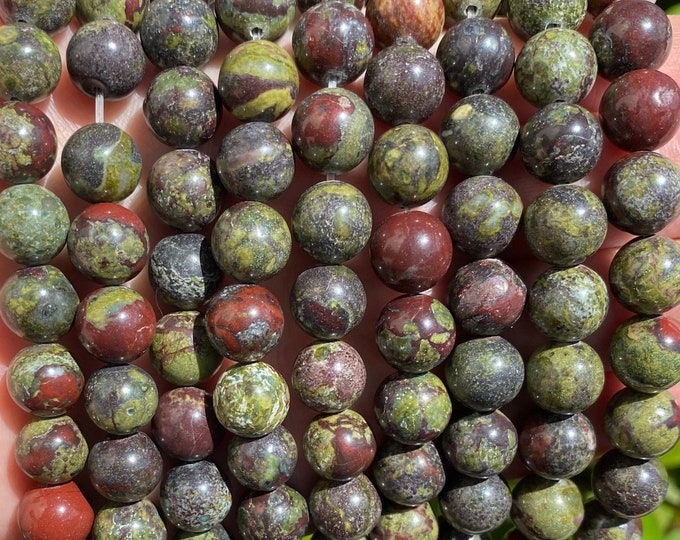 Dragon Blood Jasper Beads | Grade AAA | Round Natural Gemstone Loose Beads | Sold by 15 Inch Strand | Size 4mm 6mm 8mm 10mm