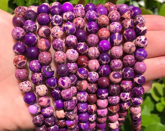 Purple Sea Sediment Jasper | Round Natural Gemstone Beads | Sold by 15 Inch Strand | Size 8mm