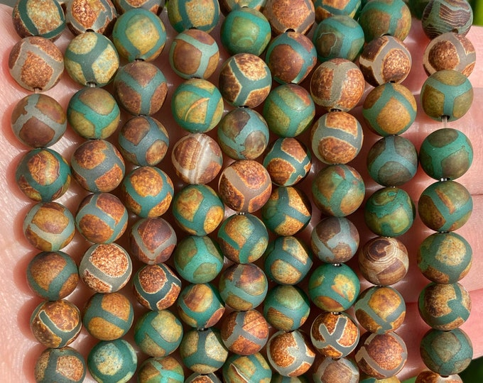 Tibetian Dzi Agate Beads | Green Brown | Round Natural Gemstone Beads | Sold by 7 inch Strand | Size 8mm