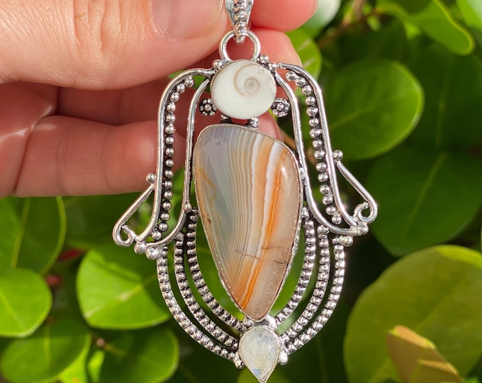 Natural Botswana Agate with Moonstone and Shiva Shell Gemstone Pendant .925 Sterling Silver Stamp Focal Bead Size 3 inch