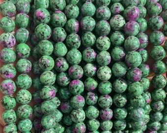 Ruby in Zoisite Beads | Round Natural Gemstone Loose Beads | Sold by 15 Inch Strand | Size 4mm 6mm 8mm 10mm 12mm