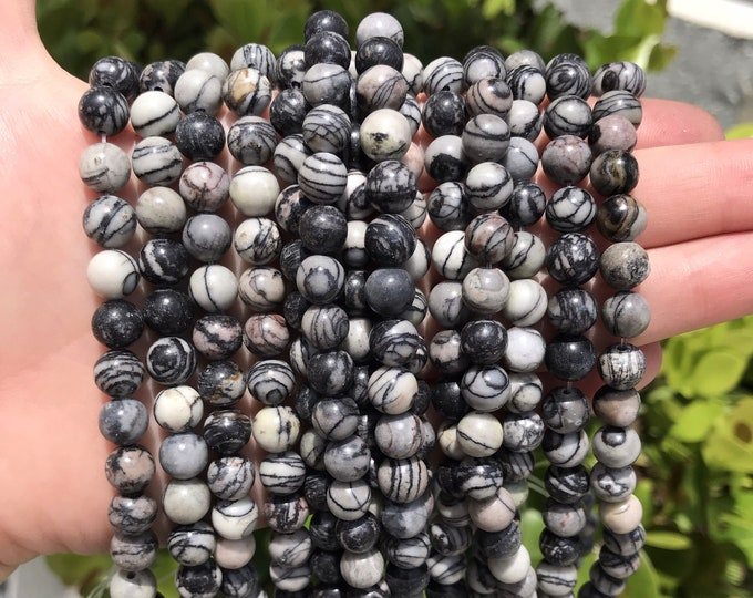 Black Veined Jasper Beads | Round Natural Gemstone Loose Beads | Sold by Strand | Size 8mm