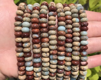 Jasper Rondelle Beads | Aqua Terra | Grade A | Natural Polished Gemstone Loose Beads | Sold by Strand | Size 8x5mm