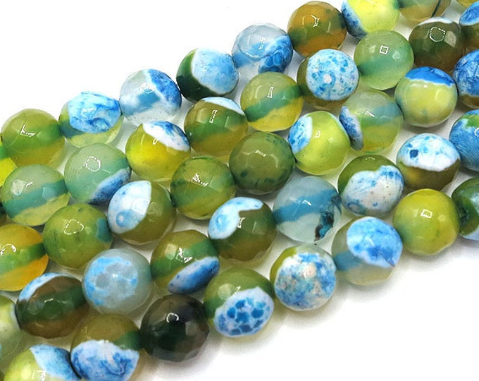 Fire Agate Beads | Green Blue | Faceted Round Natural Gemstone Loose Beads | Sold by Strand | Size 6mm 8mm 10mm 12mm
