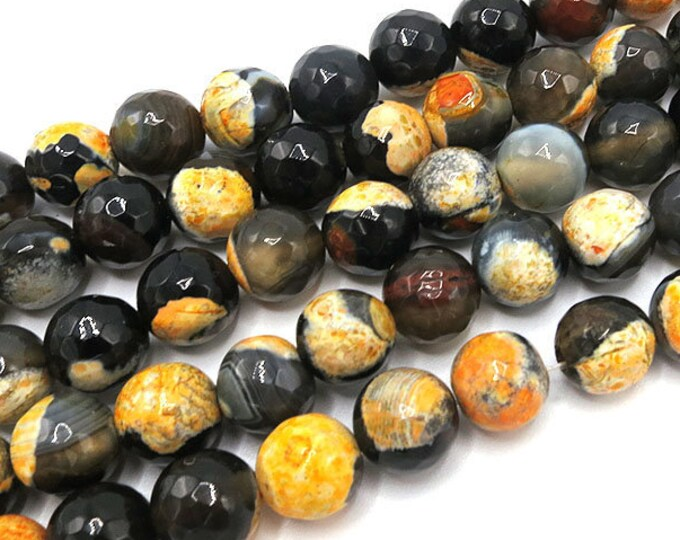 Fire Agate Beads | Yellow Black | Faceted Round Natural Gemstone Loose Beads | Sold by Strand | 6mm 8mm