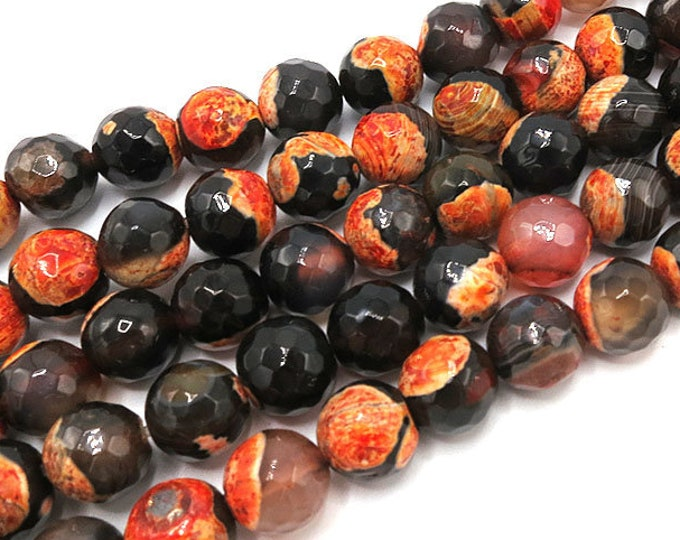 Fire Agate Beads | Orange Black | Faceted Round Natural Gemstone Loose Beads | Sold by Strand | Size 8mm 10mm 12mm