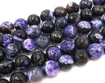 Fire Agate Beads | Purple Black | Faceted Round Natural Gemstone Beads | Sold by 15 Inch Strand | Size 8mm 10mm 12mm