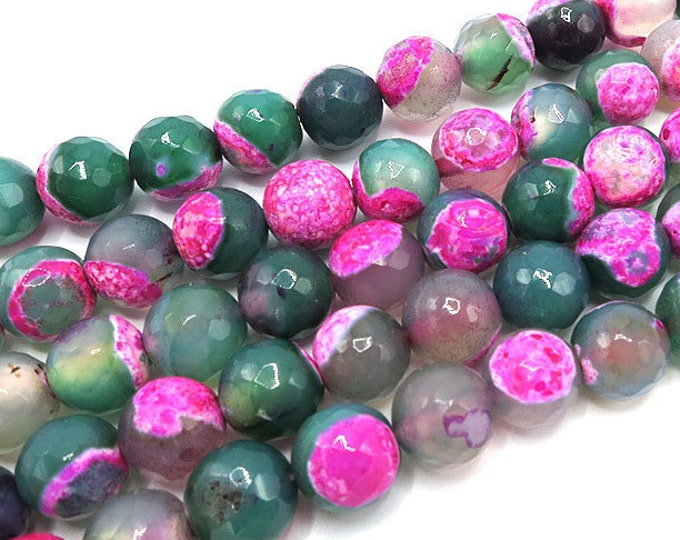 Fire Agate Beads | Green Pink | Faceted Round Natural Gemstone Beads | Sold by 15 Inch Strand | Size 6mm 8mm 10mm 12mm
