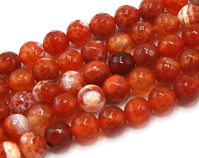 Fire Agate Beads | Red White | Faceted Round Natural Gemstone Loose Beads | Sold by Strand | Size 8mm 10mm
