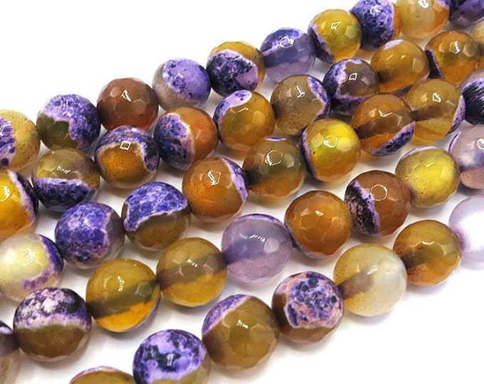 Fire Agate Beads | Purple Yellow | Faceted Round Natural Gemstone Loose Beads | Sold by Strand | 6mm 8mm 10mm