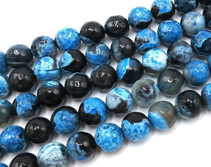 Fire Agate Beads | Blue Black | Faceted Round Natural Gemstone Beads | Sold by 15 Inch Strand | Size 6mm 8mm 10mm 12mm