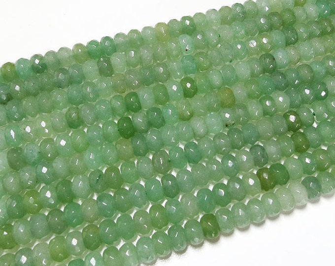 Green Aventurine Rondelle Beads | Grade A | Faceted Natural Gemstone Loose Beads | Sold by Strand | Size 5x8mm