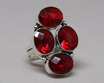 Faceted Garnet Quartz Gemstone 925 Sterling Silver Ring Size 7 inch