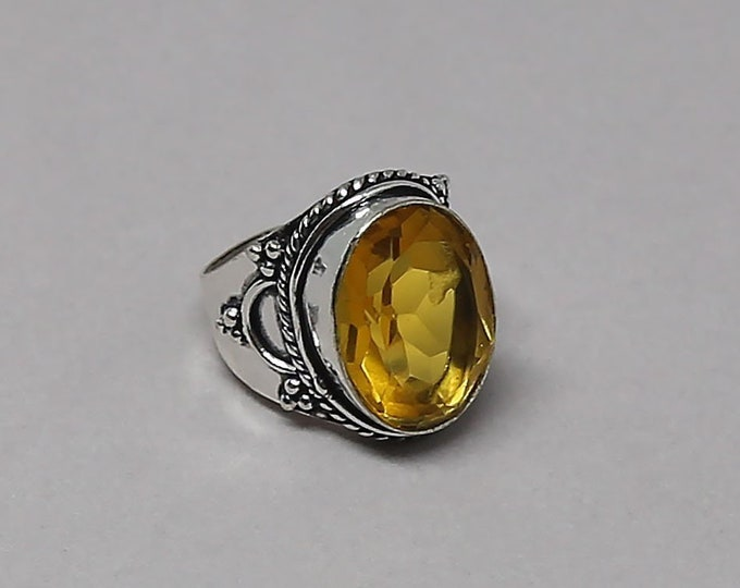 Faceted Citrine Gemstone 925 Sterling Silver Ring Size 6 1/4 inch