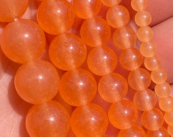 Light Orange Jade Beads | Round Natural Gemstone Beads | Sold by 15 Inch Full Strand | Size 4mm 6mm 8mm 10mm 12mm