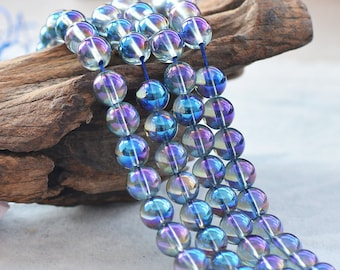 blue angel aura quartz, 8mm, round, glossy, blue, sold as 1 strand, approx. 48 pieces