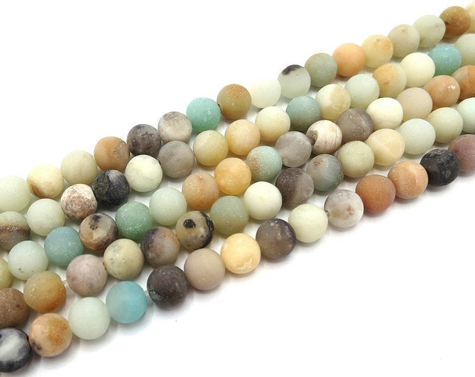 Matte Amazonite Beads 4mm 6mm 8mm 10mm 12mm Round Natural Gemstone Frosted Loose 15 inch Full Strand Wholesale