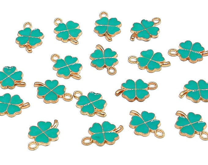 Clover Charms | St. Patrick's Day | Bracelet Charm | Gold Brass | Sold by Lot 5 Pcs | Size 19x12.5x1.5mm