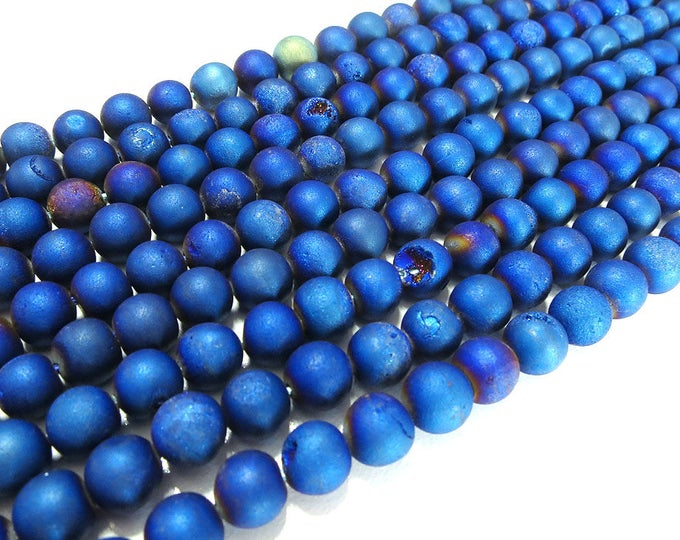"""8mm Matte Blue Metallic Druzy Ice Quartz Agate Beads Frosted Round Polished Natural Gemstone Plated Loose 15.5"""" Full Strand Wholesale"""