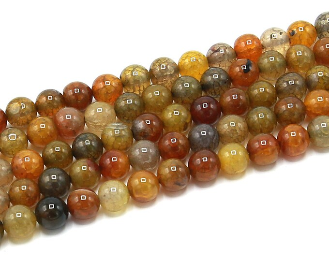 "8mm Orange Dragon Veins Agate Beads Round Polished Natural Gemstone Dyed Loose 15.5"" Full Strand Wholesale"