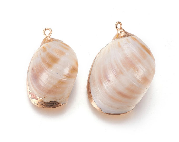 Natural Sea Shell Pendant | 18K Gold Plated Spiral Conch Shell | Sold Individually | Size 30~35x21~27x12~16mm