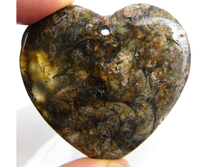Beautiful Brown Snail Fossil Heart Pendant Focal Bead 43x42x7mm C25550