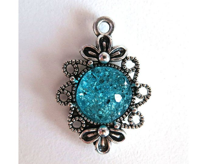 2 Pieces Antique Silver Plated Turquoise Faux Druzy Agate Bezel Charm Flower Pendant