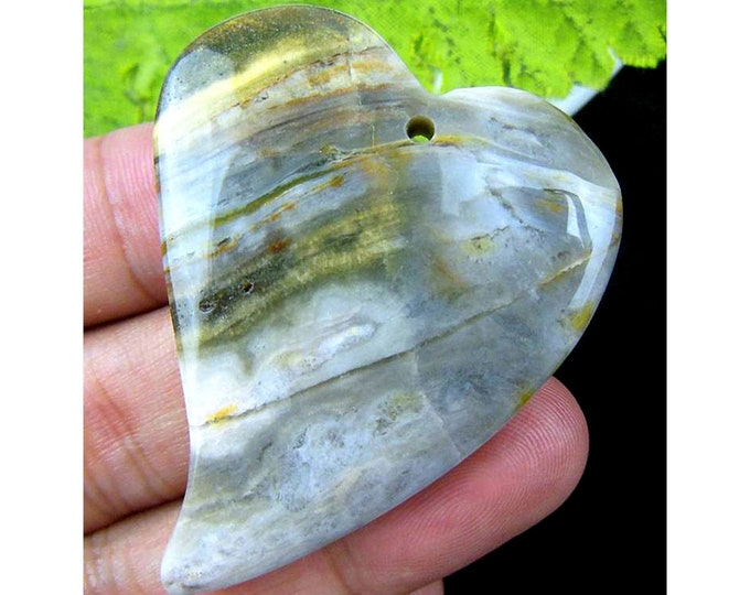 Gray Ocean Agate Heart Gemstone Pendant Focal Bead 51x41x8mm V98471