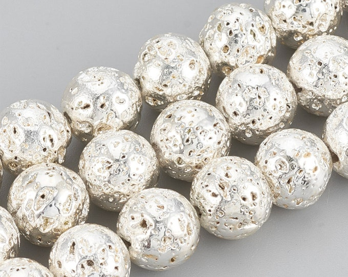 Lava Beads | Silver Color Plated Beads | Round Natural Gemstone Beads | Sold by 15 Inch Strand | Size 8-9mm