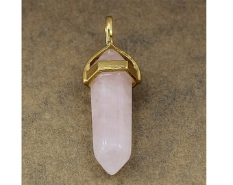 Rose Quartz Double Terminated Gold Plated Bail Pencil Point Chakra Pendant Bead