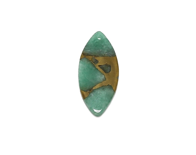 Amazonite Pendant | Natural Gemstone Pendant Focal Bead | Horse Eye | Sold by Piece | Size 40x20x2mm | Hole 1mm