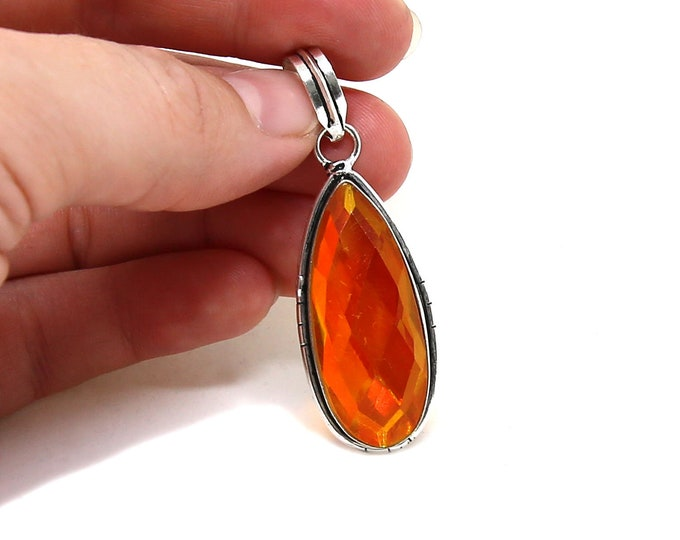 Faceted Fire Opal Lab Crystal 925 Sterling Silver Vintage Style Pendant Focal Bead Size 2 inch