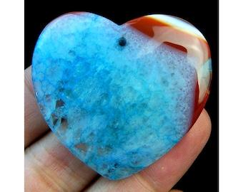 Unique Orange Blue Druzy Geode Agate Heart Pendant Focal Bead 45x42x6mm B09435
