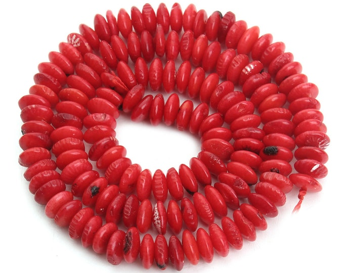 Red Coral Rondelle Beads | Natural Gemstone Loose Beads | Sold by 15 Inch Strand | Size 6x3mm | Hole 0.8mm