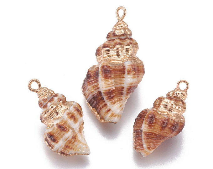 Natural Sea Shell Pendant | 18K Gold Plated Spiral Conch Shell | Sold Individually | Size 23~32x13~18mm