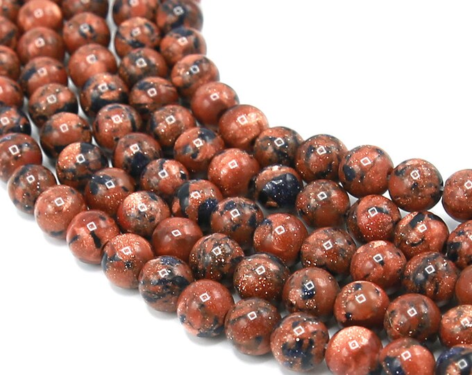 Mahogany Goldstone Beads 6mm 8mm Sandstone Round Polished Gemstone Synthetic Full Strand 15.5 inch Wholesale
