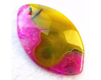 Unique Natural Red Yellow Druzy Geode Agate Horse Eye Gemstone Pendant Focal Bead 50x30x7mm B09502