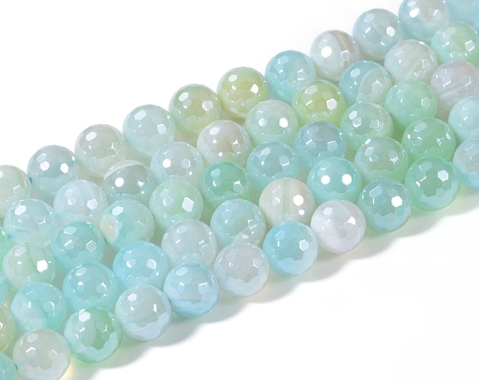 Agate Beads | Light Blue | Grade AAA | Faceted Round Plated Natural Gemstone Loose Beads | Sold by 15 inch Strand | Size 6mm 8mm 10mm