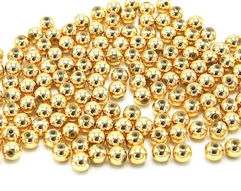 Spacer Beads   Gold Color Plated   Round Acrylic Loose Beads   Sold by Lot 100 Pcs   Size 8mm
