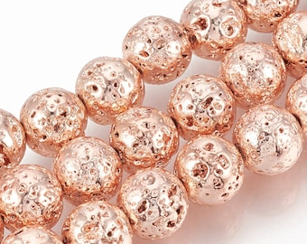Lava Beads | Rose Gold Color Plated Beads | Round Natural Gemstone Beads | Sold by 15 Inch Strand | Size 4-5mm 8-9mm