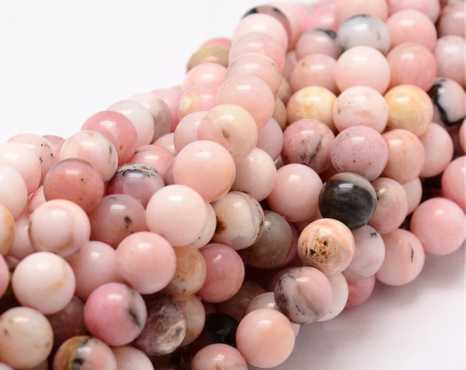 Pink Opal Beads | Round Natural Gemstone Loose Beads | Sold by Strand | Size 6mm 8mm