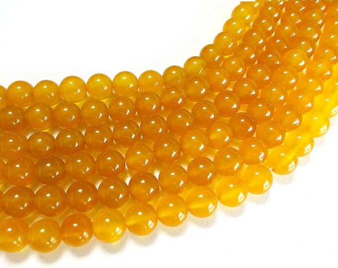 Yellow Agate Beads | Round Polished Natural Gemstone Loose Beads | Sold by 15 Inch Strand | Size 4mm 6mm 8mm 10mm 12mm