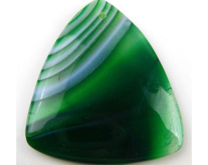 Green Stripes Agate Triangle Gemstone Pendant Focal Bead 44x38x5mm D12095