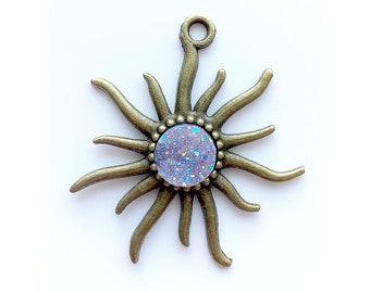 Sun Pendant | Mauve AB Faux Druzy Agate Charm | Antique Bronze Color Plated | Sold by Piece | Size 55x50mm | Hole 4mm