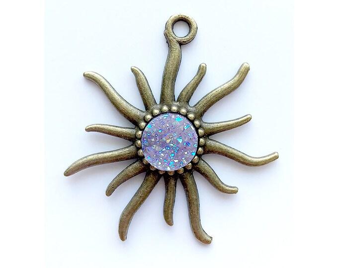Sun Pendant   Mauve AB Faux Druzy Agate Charm   Antique Bronze Color Plated   Sold by Piece   Size 55x50mm   Hole 4mm