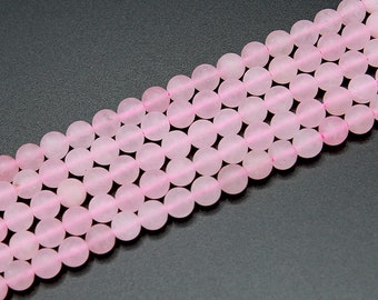 Matte Rose Quartz Beads 4mm 6mm 8mm 10mm 12mm Round Natural Gemstone Frosted Loose 15'' Full Strand Wholesale